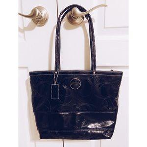 COACH Signature Black patent leather purse